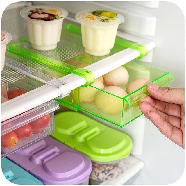 2017 Large Kitchen Utensil Storage Holder Refrigerator Single Plastic Smart Slip Abs Prateleira Bright Clear Color