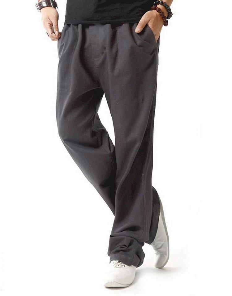 Pantalon hommes en lin et coton gris anthracite