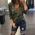 Плюс Размер Камуфляж Печати Блузки 2016 Осень Blusas Femininas Женщины Повседневная Топы С Длинным Рукавом Sexy Кружева Повязки Хлопка Рубашки