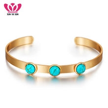 Natural Stone Bangle Bracelet Women Valentine's Gift Female Bohemian Cuff Bracelets & Bangles Femme Jewelry SL-0277(China)