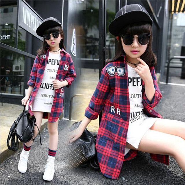 Baby girl coats and jackets autumn school uniform grid characters long coat children's clothing shirt long sleeve shirt shirt