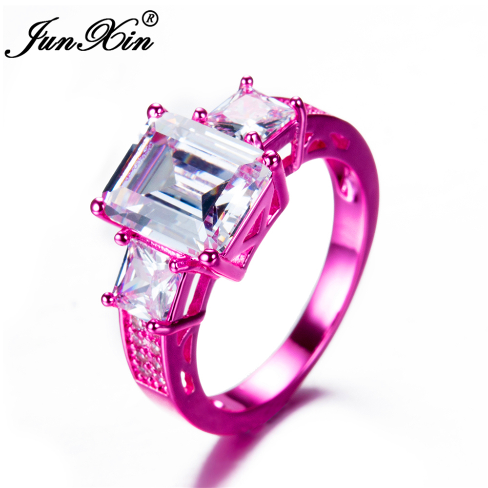 JUNXIN Luxury Male Female White Geometric Ring Ring Fashion Pink ...