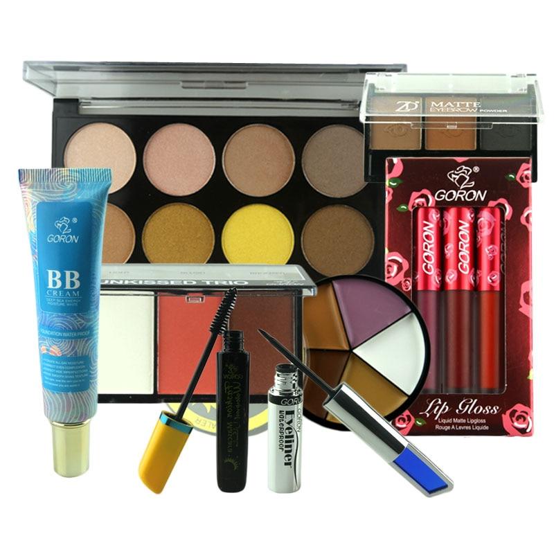 GORON 8pcs Makeup Set Concealer BB Cream Blusher Contour Powder Eye Shadow Lip Gloss Mascara Eyeliner Kit Maquillage MAKES08 sisley eye and lip contour cream
