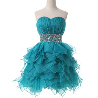 Abiti da cerimonia corti 2019 crystal Off the Shoulder Backless fluffy peacock blue cocktail dress short cheap Formal Party Gown