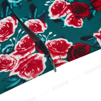 Nice-Forever Elegant Vintage Floral Printed Dress