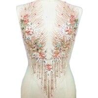 Высококачественный бисер, стразы Вышитый цветочный розовый кружевной вырез v-образный вырез воротник отделка пошив одежды Свадебное круже...