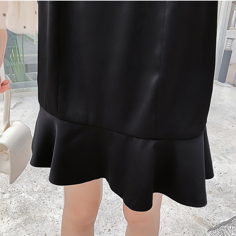2019 New Spring French Romantic Black Mini Dress Dot Transparent Long Sleeve Mermaid Dress Women Fishtail Sexy Party Vestidos 6