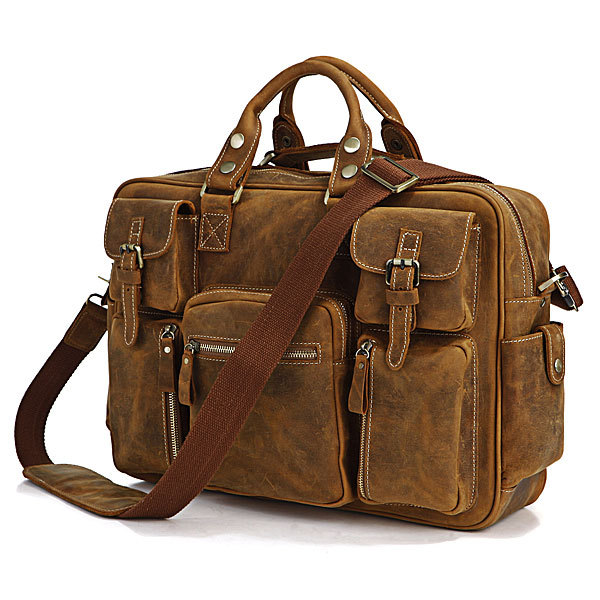 Hot Selling Rare Crazy Horse Leather Men's Briefcase Laptop Bag Travel Bag Leather 7028B