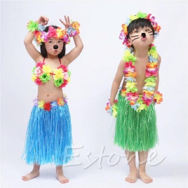 Kids Flower Hawaiian Grass Party Dress Hula Beach Dance DIY Costume 2 5Y T026