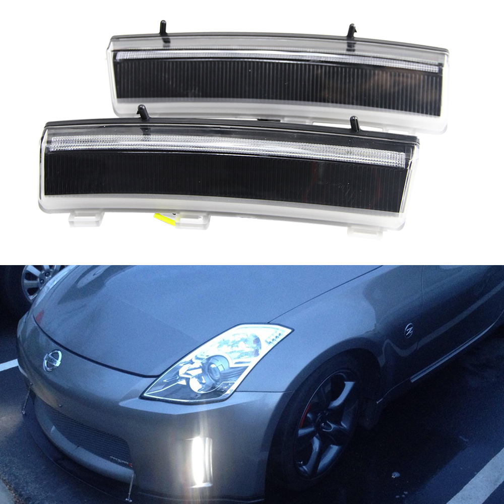 2x CREE chips Switchback LED Front Bumper Reflector Replacement LED Daytime Running Lights For 06-09 Nissan 350Z LCI Car Styling 2x 3157 p27 7w for sharp chips led clearance bulb lamp daytime running lights for 2011
