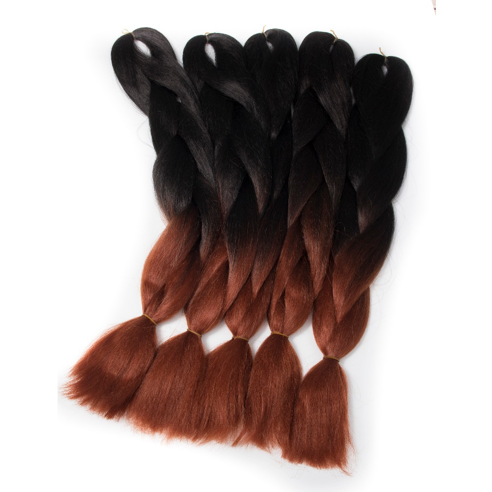 Qp hair kanekalon Fiber Synthetic Hair Extension Ombre Braiding Hair  2 Tone Red Color 24inch Jumbo Braids