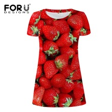 FORUDESIGNS Women Wholesale strawberry Beach Dress Summer Casual Sundress O-Neck Short Sleeve Sexy Midi T Shirt Straight Dress forudesigns women wholesale ocean animal beach dress summer casual sundress o neck short sleeve sexy midi t shirt dress s m l xl