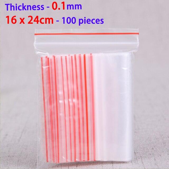 be041bd3e 100 piezas 16x24 cm transparente-Cierre con cremallera bolsas de plástico  de Ziploc bolsas de