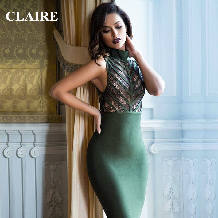 Claire Sunshine 2016 Summer Green Casual Turtleneck Lace Knee Length Sexy Women Party Runway Dress HL Bandage Dresses CS1734