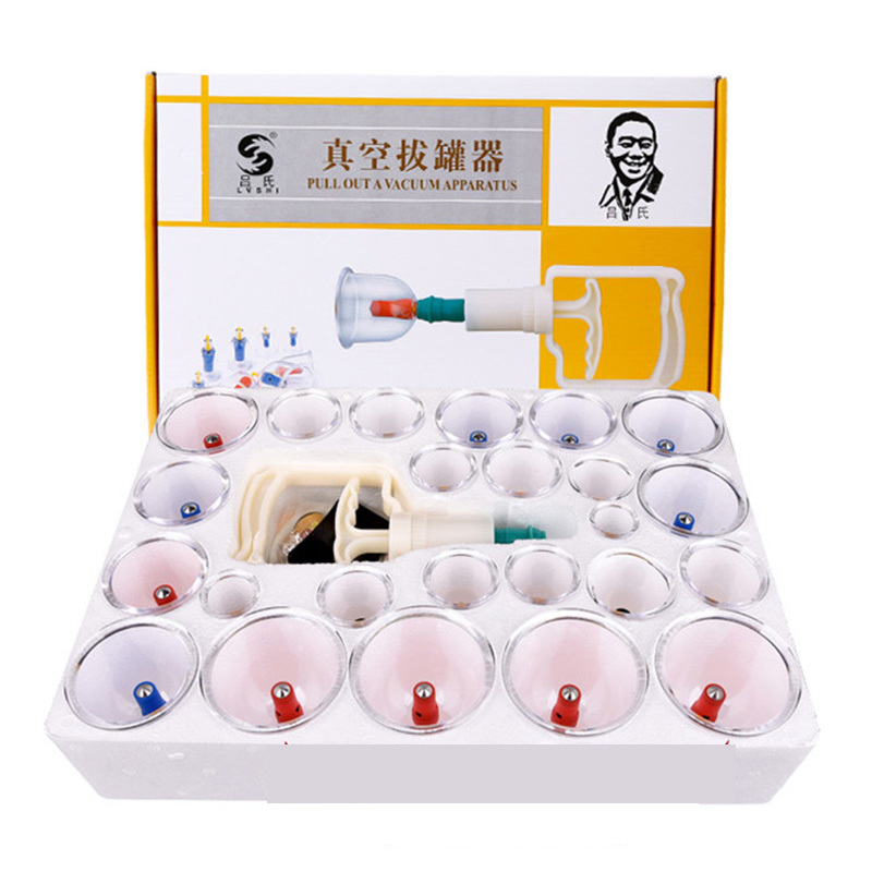 24Pcs Massage Vacuum Cupping Set Thicker Magnetic Therapy Aspirating Cupping Cans Acupuncture Massage Suction Cup With Tube