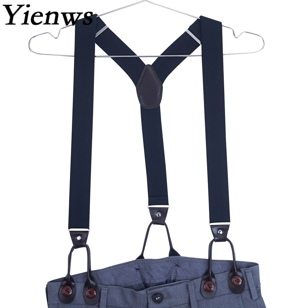 Yienws 120cm Suspensorio Black Leather Suspenders Men For Pants Navy Leisure Mens Braces For Trousers Burgundy YiA022