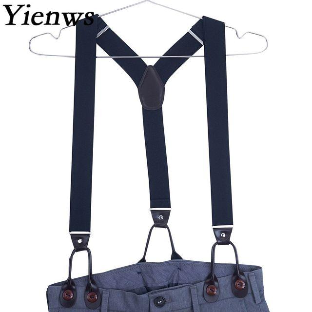 b1b8cb8d6 Yienws 120cm Suspensorio Black Leather Suspenders Men for Pants Navy  Leisure Mens Braces for Trousers Burgundy YiA022