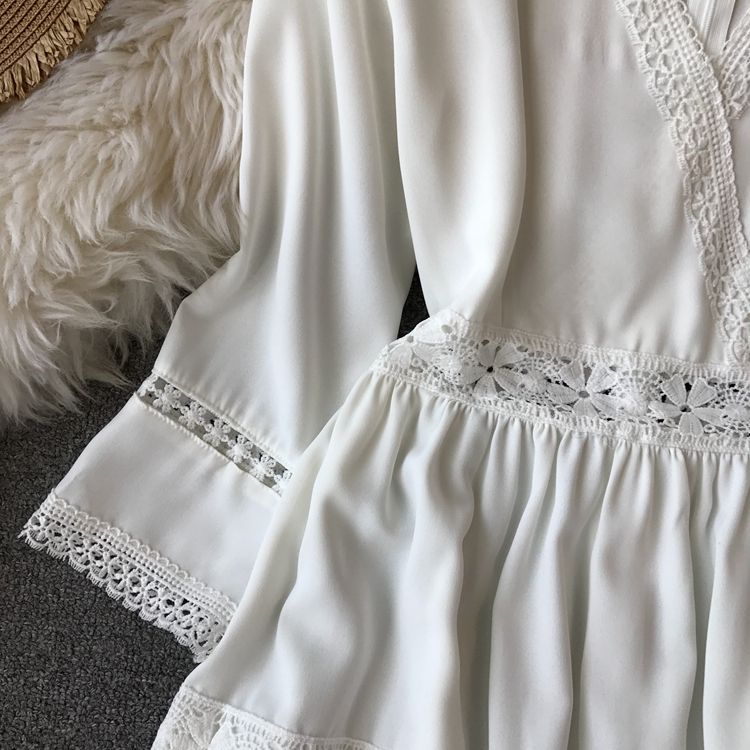Women Bohemian Dress Lady Half Sleeve V Neck Red and White Beach Holiday Elegant Vestidos E152 25