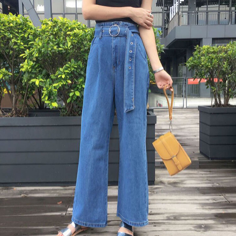 Mihoshop Ulzzang Korean Korea Women Fashion Clothing Autum High Waist Casual Base Denim Wide Leg Jeans купить
