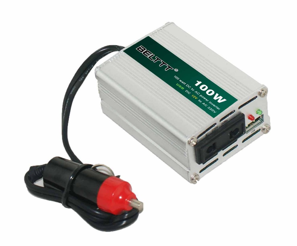Free Shipping <font><b>100W</b></font> DC <font><b>12V</b></font> to AC <font><b>220V</b></font> Car <font><b>Inverter</b></font> Power Invertor dc into electricity equipment Fittings Selection USB EU plug image