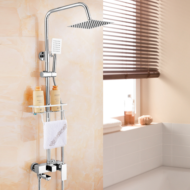 Chrome Finish Wall Mount Shower Suit Copper Faucet 8 Inch Fixed Shower Head china sanitary ware chrome wall mount thermostatic water tap water saver thermostatic shower faucet