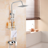 Chrome Finish Wall Mount Shower Suit Copper Faucet 8 Inch Fixed Shower Head