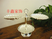 Silver plated zinc alloy iron frame KTV candy candy tray 3 Fresh Fruit Salad disc snacks inventory center plate