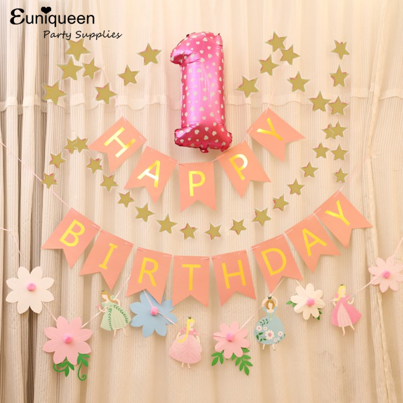 Random Hearts First Birthday Banner Personalized Backdrop