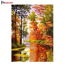 Full Diamond Painting Square Resin Drill 5D Diamond Embroidery Sale Trees Diamond Mosaic Landscape Autumn Scenery Factory Direct(China)