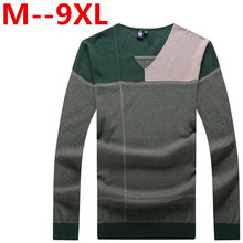 Ali 9XL 8XL 7XL 6XL Autumn Brand Casual Sweater O-Neck Striped Slim Fit Knitting Mens Sweaters And Pullovers Men Pullover Men