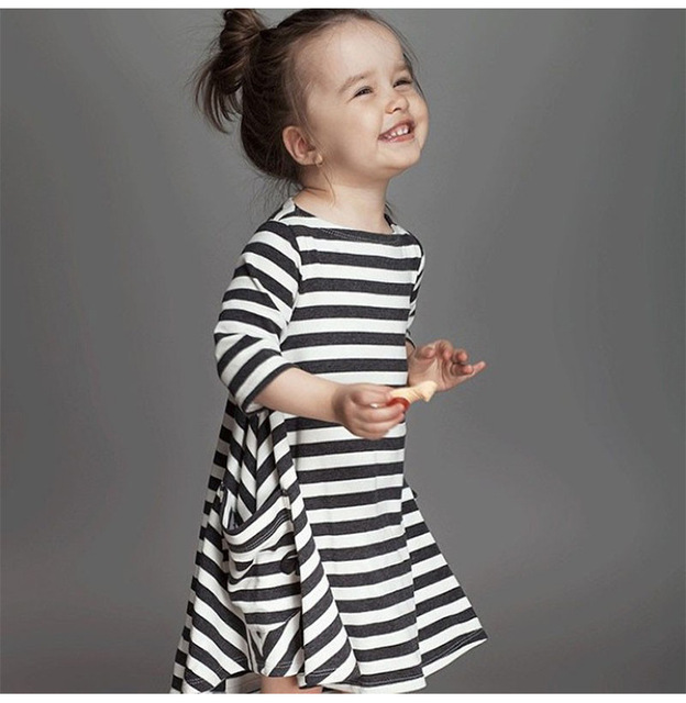 Free Shipping Spring Infant Baby Girls Dress Black And White Striped