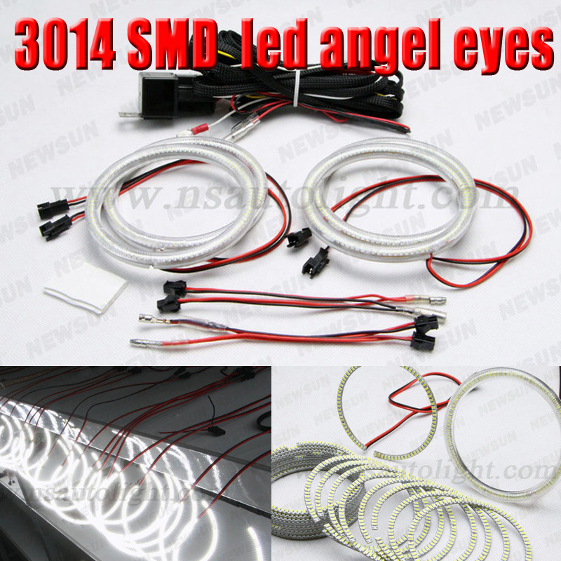 2016 Newest model led headlight rings for Universal use 3014 SMD led angel eyes halo ring 80mm, 72mm,90mm,105mm,120mm,125mm led rings white 3014 smd led angel eyes headlight halo ring marker 131mm 145mm for bmw e46 non projector
