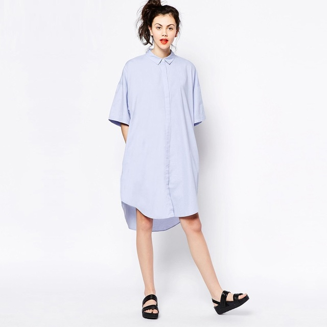 fabb5d223375 Plus size shirt dress women street fashion Boyfriend style loose midi  length dresses casual blouse dress SD2697