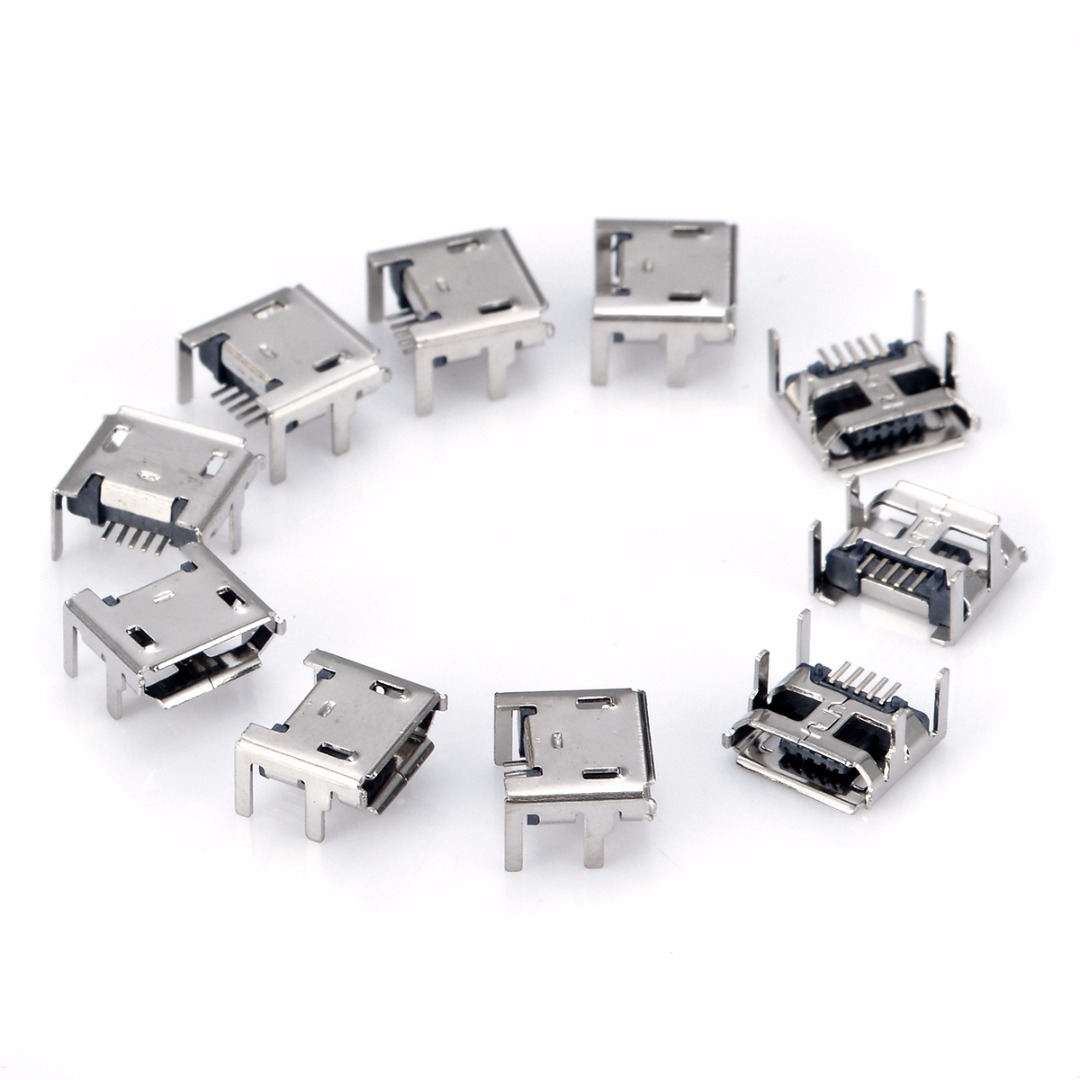 10Pcs High Quality Micro USB Type B 5pin Female Socket 4 Vertical Legs Soldering Connectors For Mobile Phone 10pcs g45 usb b type female socket connector for printer data interface high quality sell at a loss usa belarus ukraine
