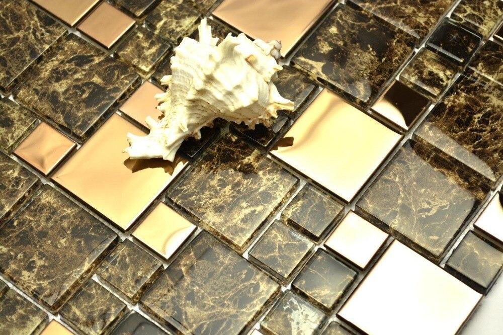Brown di vetro di colore misto d oro in acciaio inox metallo