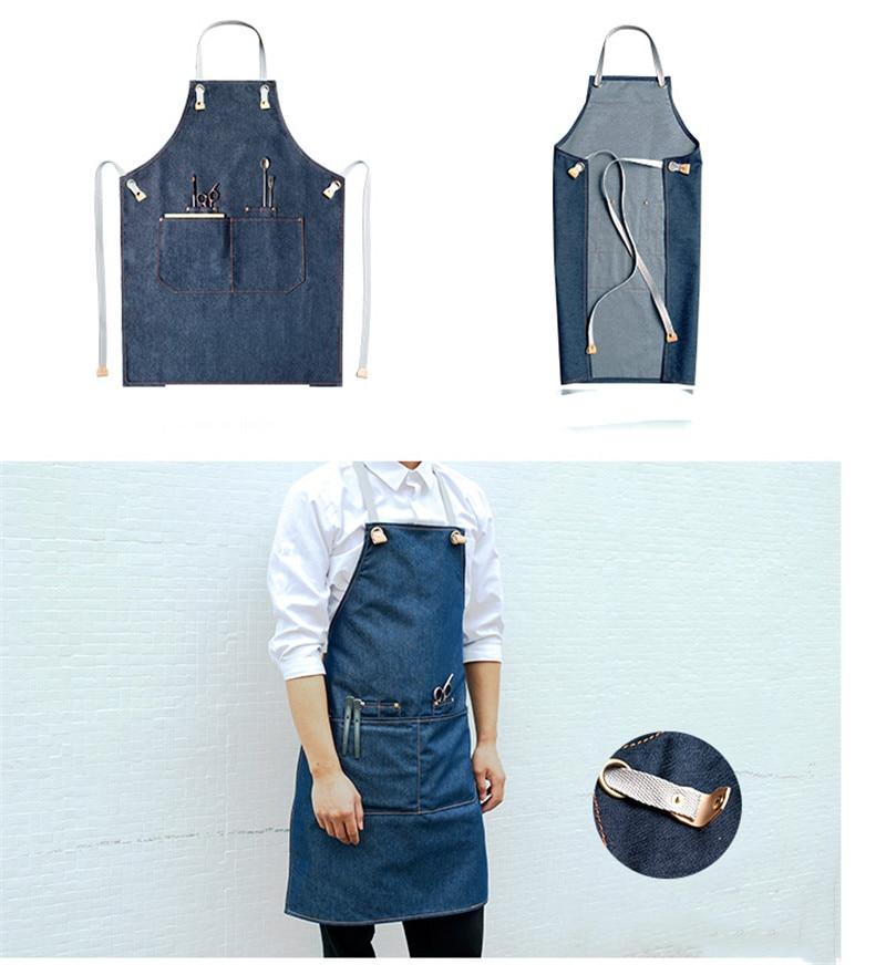 Denim Keuken Koken Schort met Verstelbare Katoen Band Grote Zakken Blauw Barista Mannen en Vrouwen Homewear - 2