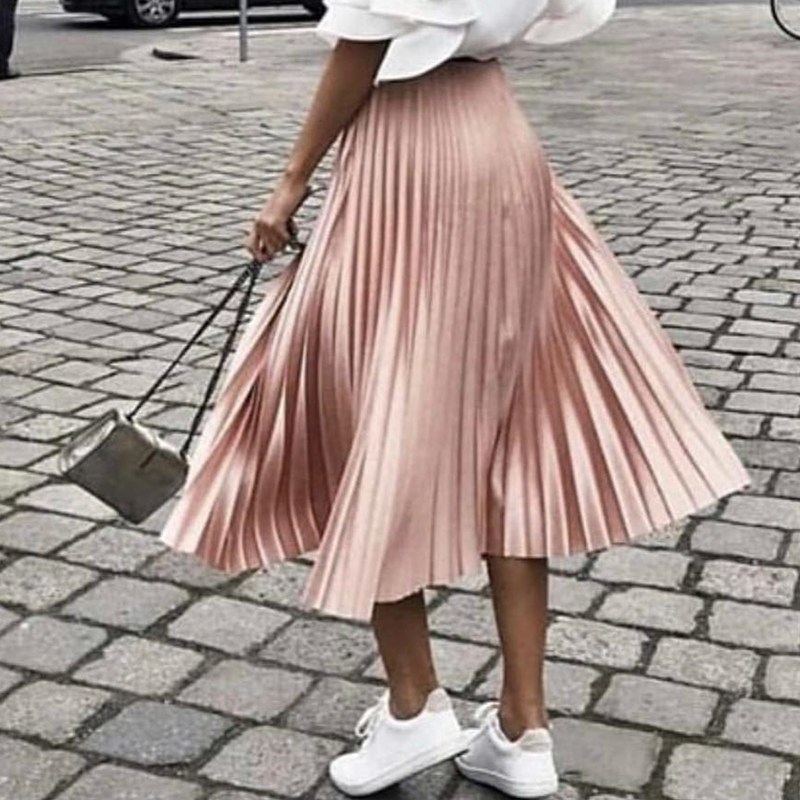 Flectit 2019 Spring Summer Glitter Pleated Skirt Yellow Dark Green Pink Long Skirt Women Feminine Midi Skirt *