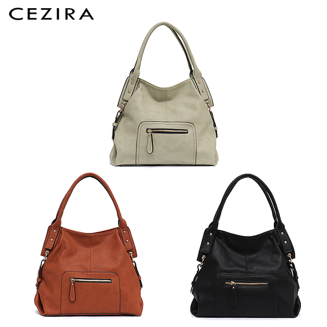 CEZIRA Brand Fashion Vegan Leather Women Shoulder Bags Female Casual Hobos Ladies Large PU Zip Pocket Tote Handbag Messenger Bag 3