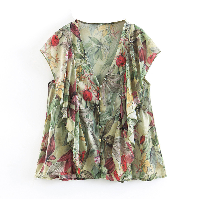 2019 Summer Hot Women Fashion Deep V Neck Loose Casual Sleeveless Retro Floral Print Flounce Cardigan Buttons Blouse Top Shirt