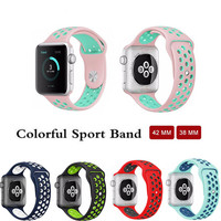 Colorful Watchband Flexible Breathable Silicone Sport Band For Apple Watch Series 1 2 Watch Strap For