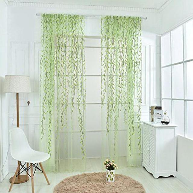 Saule Voile Tulle rideau Transparence Fenêtre Simple fil rideau ...