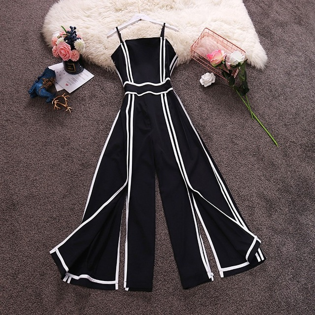 Amolapha Women Striped High Waist Wide Leg Patchwork Strap Chiffon  Jumpsuits Summer Split Rompers