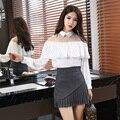 Primavera Nuevas Mujeres Coreanas Vestido Suelto Y Cómodo Soporte de Cuello de hoja de Loto Borde de la Granadina Del Hombro De Manga Larga Shir