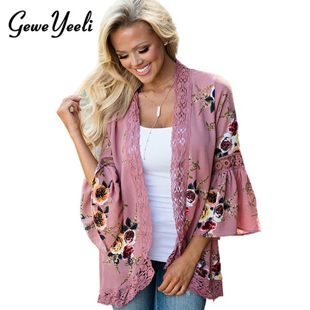 Floral Kimono Cardigan Summer Chiffon Lace Trim Beach Sun Wrap Women Kimono Shirt Tops Plus Size Tunic Blouse