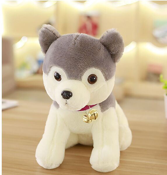 middle lovely Husky toy plush gray husky dog doll gift about 50cm big plush pink sitting dog toy soft cartoon dog doll with scarf gift about 50cm
