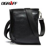 OGRAFF Men Messenger Bags Genuine Leather Bag Vintage Men Casual Briefcase Crossbody Shoulder Travel Bolso Hombre