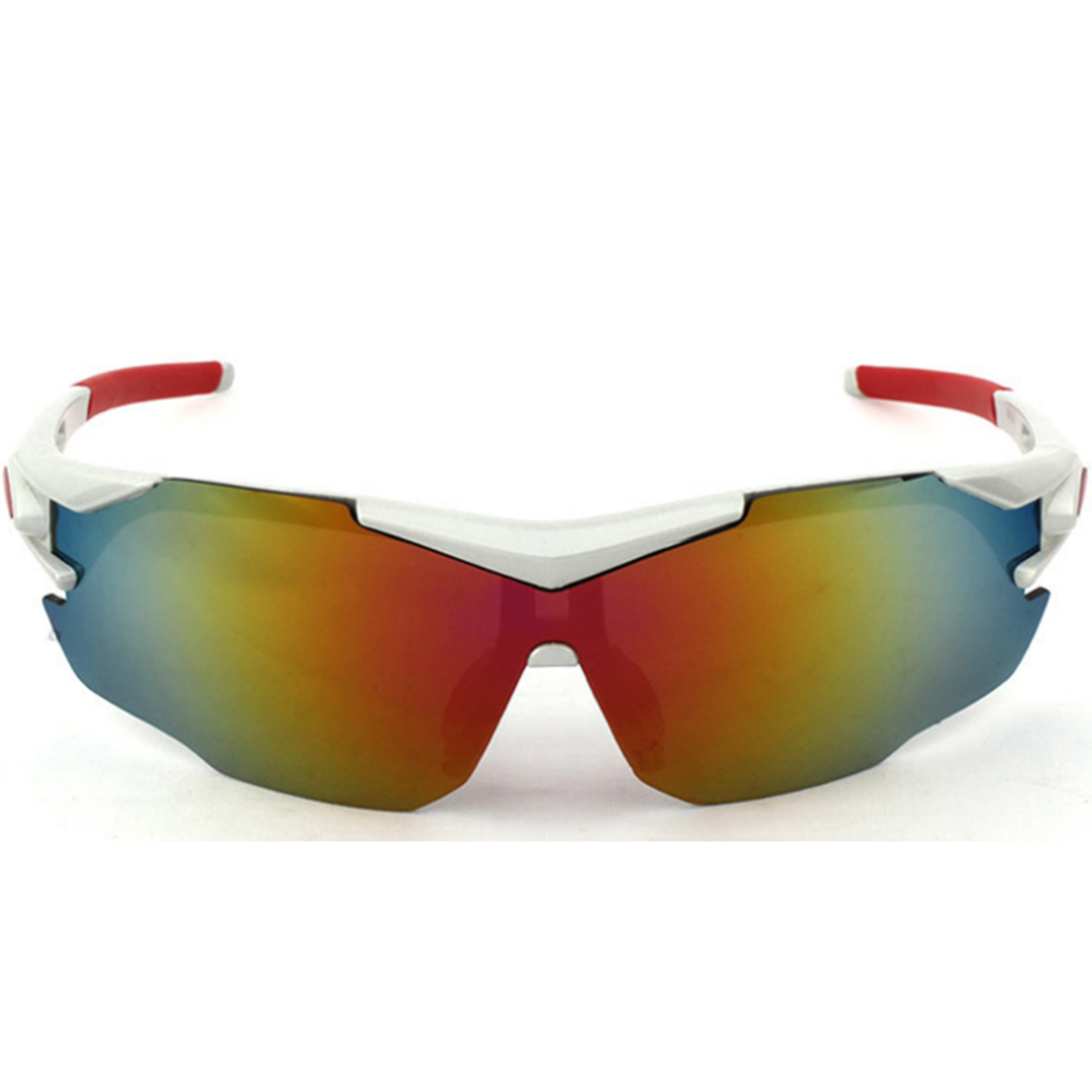 Male Outdoor Activities Goggle Skiing Cycling Wind Sunglasses(Red Mercury) - Matte Silvery White Frame