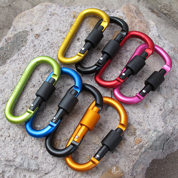 Aluminum Carabiner D-Ring Key Chain Clip Camping Keyring Snap Hook Outdoor Travel Kit 8cm