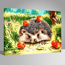 WEEN Hedgehog and apple canvas painting by numbers kit,DIY Paint  with frame for kids, Home wall art picture 40X50cm
