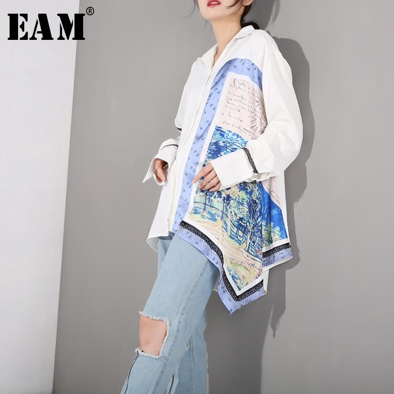 [EAM] 2020 New Spring Autumn Lapel Long Sleeve Pattern Printed Loose Irregular Big Size Shirt Women Blouse Fashion Tide FN1560